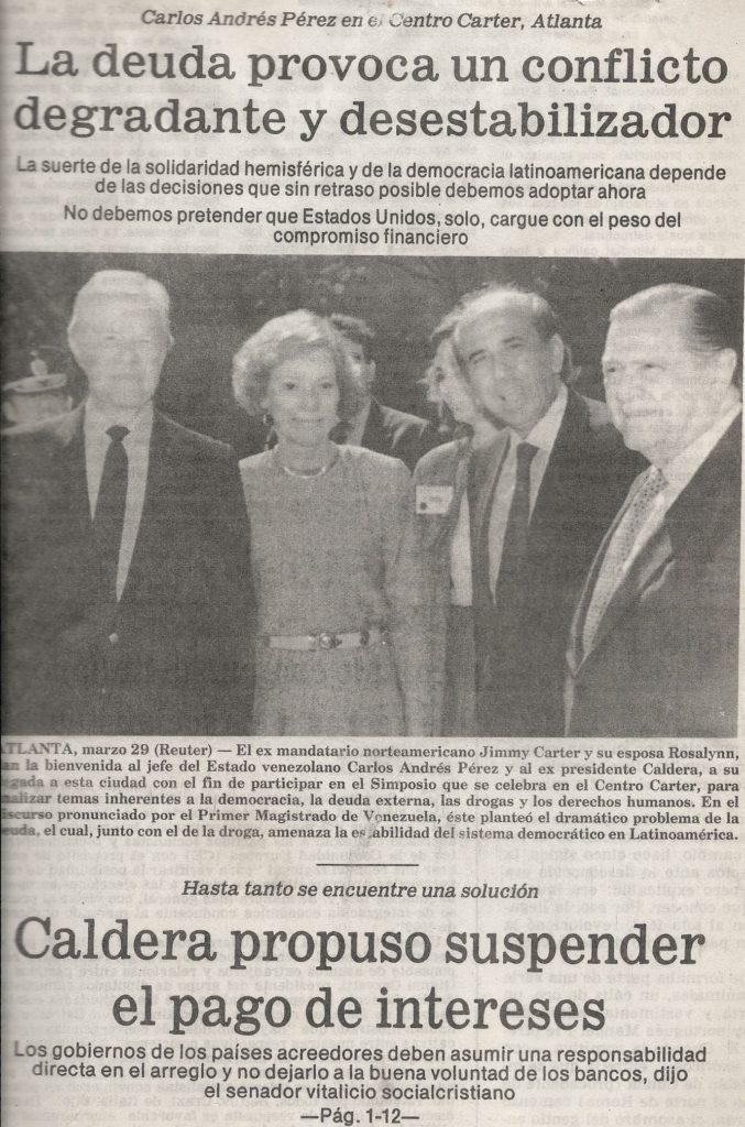 Jimmy Carter, Carlos Andrés Pérez y Rafael Caldera, 1989.